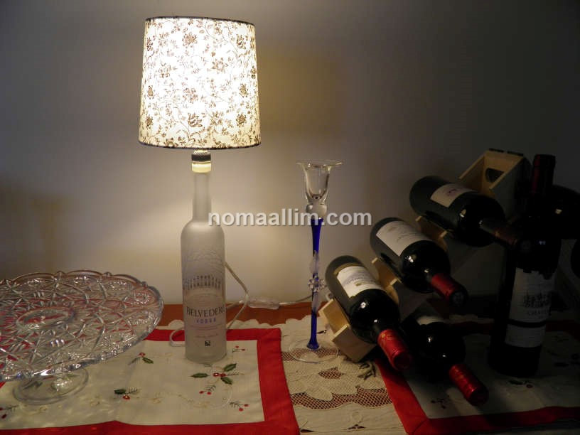 table lamp from empty bottle